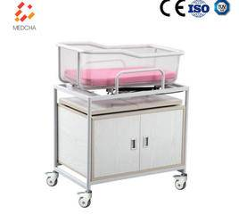 Deluxe Hospital Baby Crib with Wooden Cabinet Infant Bed